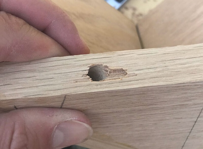 Fill the holes with wood filler