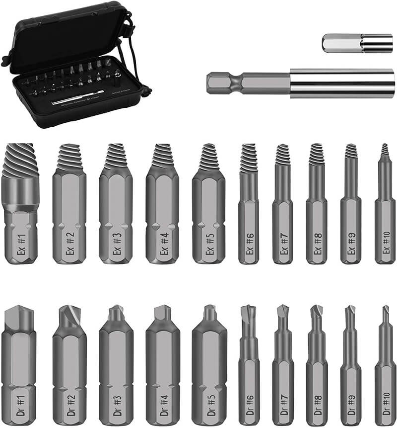 Screw extractors always come in a set of bits with different sizes and configurations