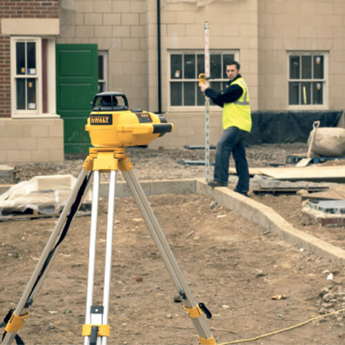 Using a laser level to level ground