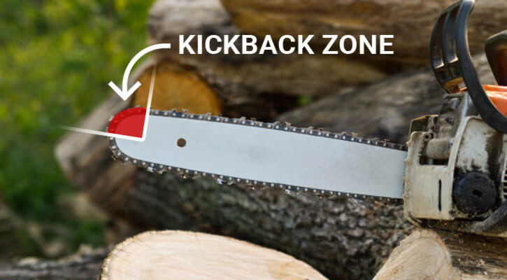 Avoid the kick-back zone of a chainsaw to prevent injuries