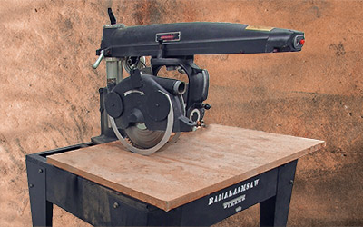 A radial arm saw works when the blade spins