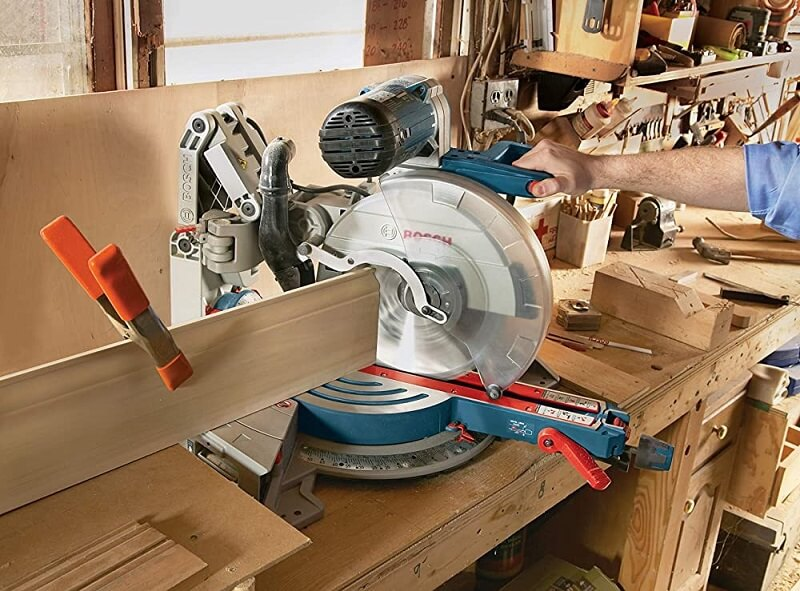 User must fix the miter saw in one position or on a table