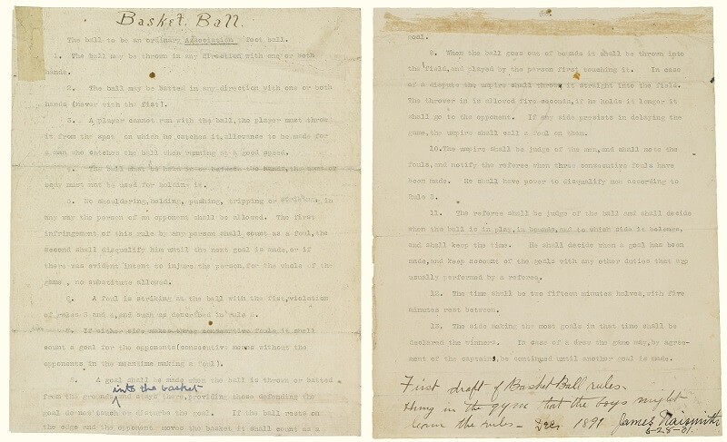 Rules of basketball 1892 first draft