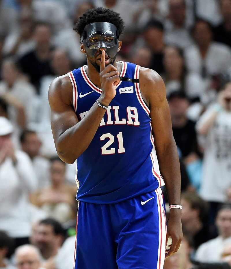 Joel Embiid wore a black mask to protect his eye socket